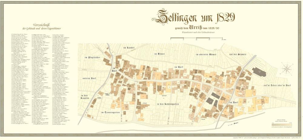 Urrisskarte von 1829 des Orte Zeltingen